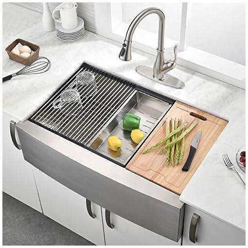 Farmhouse Kitchen 30 Inch Stainless Steel Workstation Farmhouse Apron Kitchen Sink – BoomHoze Handmade Deep Single Bowl Kitchen Sink farmhouse kitchen sinks