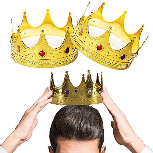 King Crown - 2 Pieces - Gold Jeweled Royal Dignified King Costume Accessory - Ideal for Halloween, Party Dress-Ups, Themed Parties... And More! -