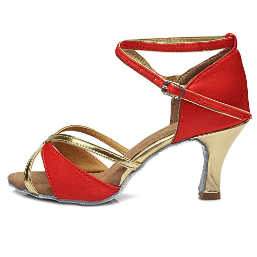 UK805 Red Latin Satin Ballroom Model Women's Dance Shoes HIPPOSEUS 7cm Shoes vx5q8ZwqE