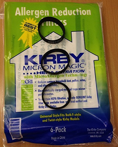 Genuine Kirby Universal Bags: 1 Pack (6 bags) of Universal HEPA White Cloth Bags Kirby Part 204811 and 3 Kirby Belts Part 301291 (Kirby F Vacuum Bags compare prices)