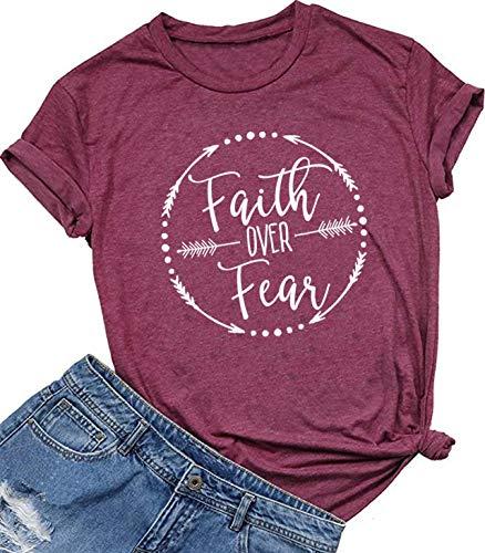 Faith Over Fear Arrow Letters Print T Shirt Women Short Sleeve O Nece Christian T-Shirt Tops Tee (Medium, Red)