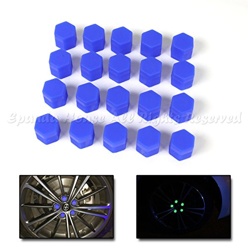 19mm 20X Glow In The Dark Blacklight Wheel Rim Lug Nuts Covers Cars/Bikes Blue