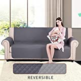 CALA Sofa Oversized Slipcovers, Reversible Couch Slipcover Furniture Protector,Cover Perfect for Pets and Kids(Gray)
