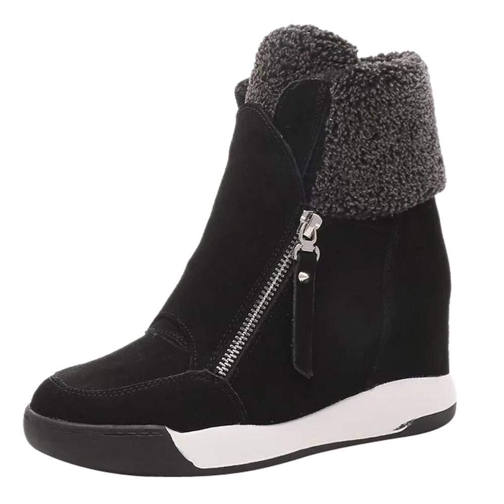 Logobeing Botas Mujer Invierno/Botas de Mujer Casual Zapatos de Muffin con Cuñ as Cordones Botas Zapatillas de Deporte Botines Mujer Tacon Calientes Altas Boots Nieve Plataforma (35, Marró n) Marrón)