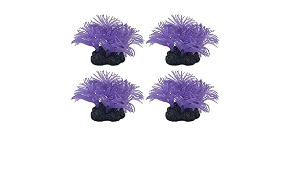 Amazon.com: eDealMax silicona del acuario acuario Coral Artificial Grass Planta decoración 4pcs púrpura: Pet Supplies
