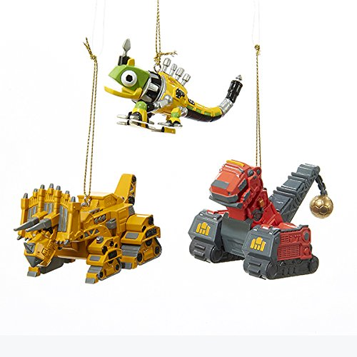 Kurt Adler 1 Set 3 Assorted Dinotrux Ornaments With Tyrannosaurus Trux, Reptool And Dozeratops