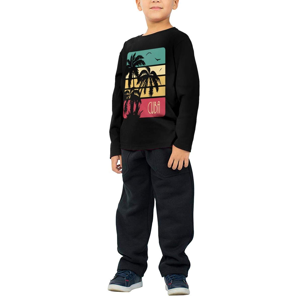 Cuba Vintage Sunset Kids Boys Girls Crew Neck Long Sleeve Shirt T-Shirt for Toddlers