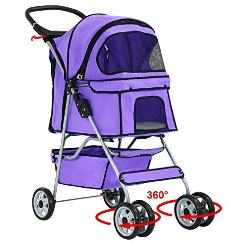 BestPet Pet Stroller Cat Dog Cage Stroller Travel Folding Carrier (Renewed)