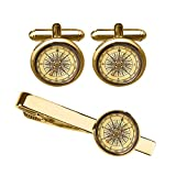 ZUNON Vintage Compass Cufflink Antique Compass Navigation Travel Direction Men Golden cuff ink (Golden Compass cufflinks and tie clip)