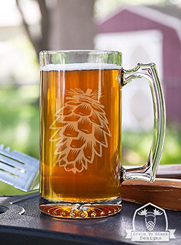 Pinecone Stein Beer Mug Gift (Glassware Etched With Pine Cones compare prices)