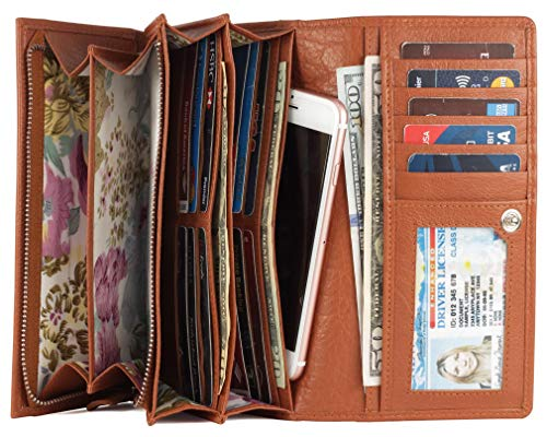 Mou Meraki Women RFID Blocking Real Leather Bifold Wallet-Clutch For Women-Shield Against Identity Theft (RUST)