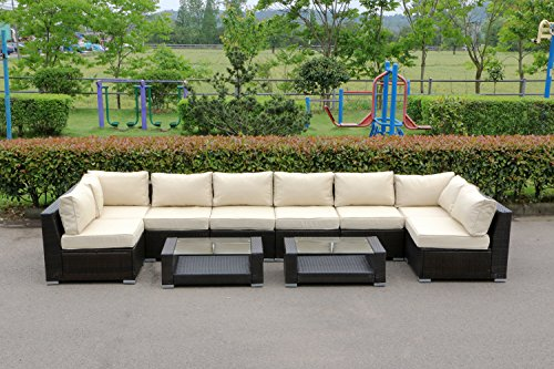 UHOM Outdoor 10-Piece Wicker Garden Sectional Furniture Set Patio Lawn Sofa Seats with Cushions (Rattan 8 Seater Garden Furniture)