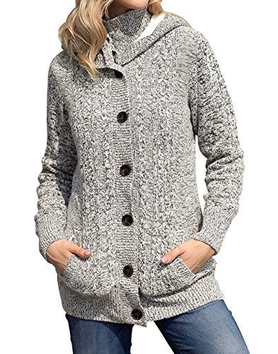 Cappotto Casual Tops Maglione Cappuccio con Sweater Bottoni Manica con Outwear Autunno Hoodie Giacche Maglieria Coat Cime Lunga Moda Pullover Donne Inverno wZnq8RExRg