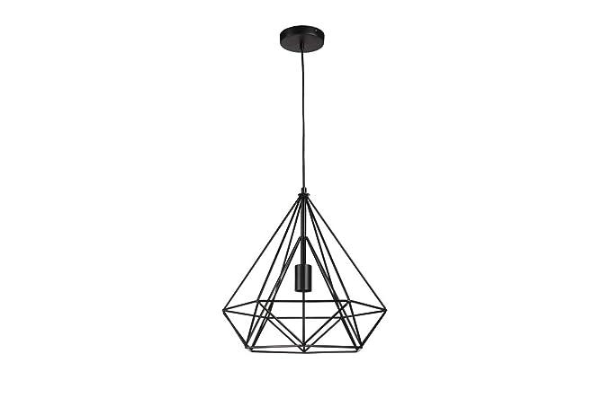 LIFA LIVING Lámpara jaula colgante | Pantalla metálica para lámpara de techo estilo retro | Portalámpara diamante diseño vintage industrial | Altura ...
