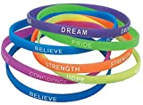 Rubber Thin Inspirational Bracelets (12 Pack) 7 1/2″. Rubber.