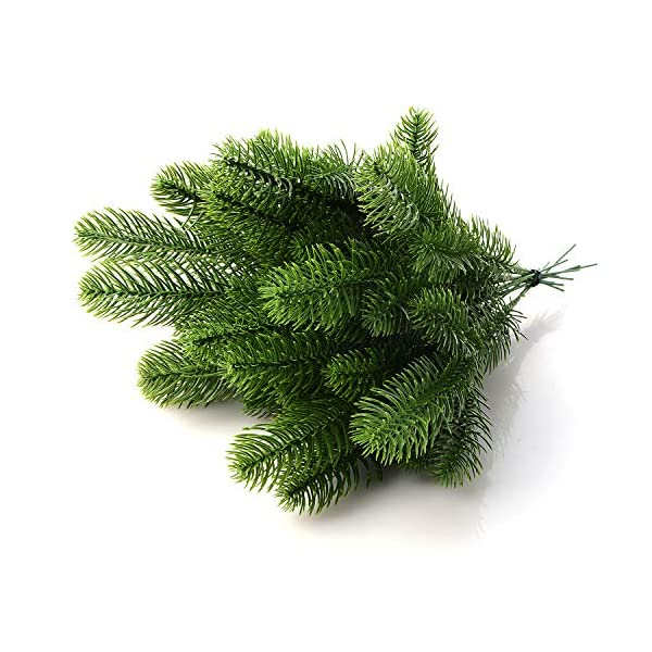 Develoo Artificial Pine Picks, Artificial Pine Green Leaves Evergreen Branches for Christmas Embellishing Flower Arrangements Wreaths Winter Greenery and Home Garden Decor