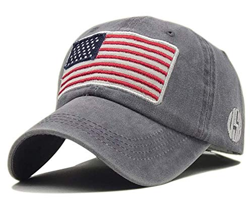LOKIDVE Embroidered American Flag Baseball Cap Washed Cotton Low Profile Hat-Gray ()