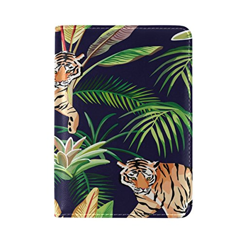 ALAZA Jungle Cactus Tiger Palm Tree Leather Passport Holder Cover Case Travel One Pocket -