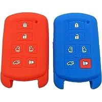 2pcs Nueva azul y rojo silicona proteger Piel Bolsa De 6Botones Mando a Distancia Key Holder Fob Smart Cover para hyq14adr 2011–2017toyota sienna