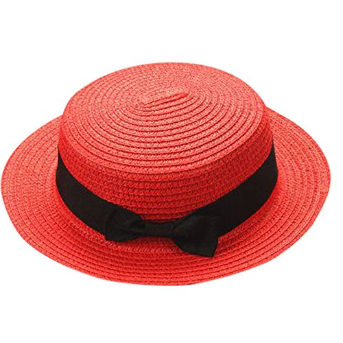 ❤ Fulijie Exquisite Baseball Cap, Fashion Mother&Me Father Mother Bowknot Breathable Well Crafted Straw Hat Red