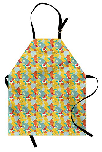 Colorful Aprons, Adjustable Bib Kitchen Cooking Apron for Women Men Chef Professional for Baking Gardening - Spring Nature Inspired Artwork with Poppies and Striped Petals Vintage Revival, Multicolor