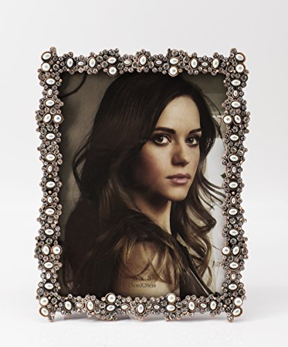 Fennco Styles Crystal and Pearl Elegant Decorative Metal Picture Frame (Copper 6