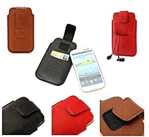 DFV mobile - Leather pouch case pocket sleeve bag with velcro & outer bag & buckle > mpie s308, color rojo