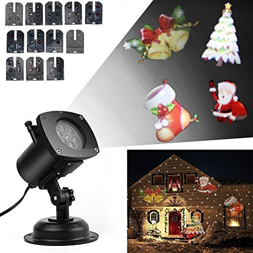 Led Christmas Projector Lights, 12 Replaceable Pattern Gobos Garden Lamp Waterproof Sparkling Landscape Projection Indoor/Outdoor Deco for Christmas Party,Holiday, Birthday, Wedding Decorations