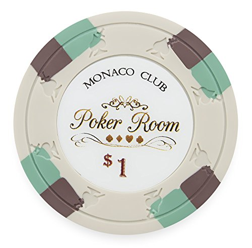 Pack of 50 Monaco Club Poker Chips, Heavyweight 13.5-gram Clay Composite by Claysmith Gaming ($1 White)