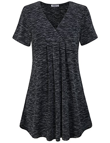 MOQIVGI Womens Blouses, Soft Breathable Cool Breezy Feminine Tops Stylish Babydoll Flowy Vneck Short Sleeve Shirts Fancy Holiday Tunics for Ladies Fashion Clothes 2018 Marled Black X-Large