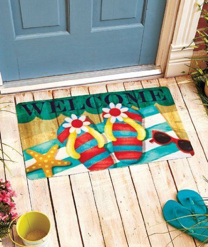 Colorful Flip Flops Starfish Beach Theme Welcome Door Mat Ru