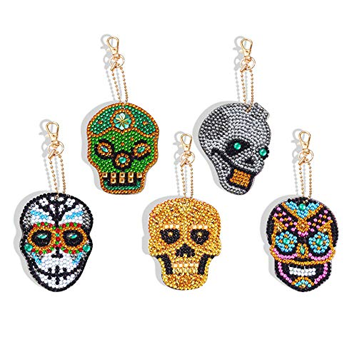 Celebrity Diamond Jewelry - DIY Diamond 5pcs Keychain Sets Painting Kits Pendants Full Drill Crystal Jewelry Hand Bag Backpack Accessories Metal Gift Skull Black White Cool
