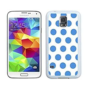 BINGO best quality Polka Dot White and Blue Samsung Galaxy S5 Case White Cover