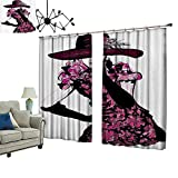 2 Panels Curtain with Hook Trendy Woman Furry Hat and Floral Dress Nostalgic Magazine Catwalk Look Goddess Can Block Sunlight,W108 xL84.3