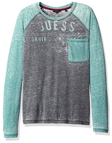 GUESS Big Boys' Raglan Sleeve Burnout Graphic T-Shirt, Noir/Jet Black a, (Burnout Graphic)
