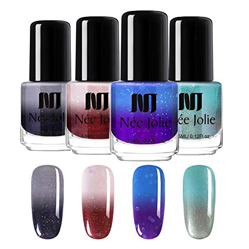 NEE JOLIE 3.5ml Color Changing Nail Polish Thermal Temperature Nail Lacquer with Glitter Sequins Non Toxic Peel Off Nail Varnish Manicure Nail Art (4 colours)