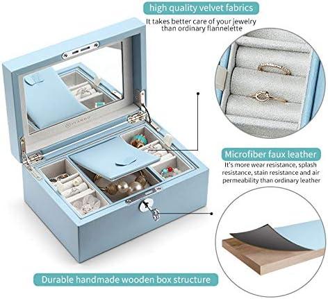 Vlando Pandora Jewelry Box Jewelry Organizer And Storage With Mirror And Tray Blue Boxes Amazon Com Au