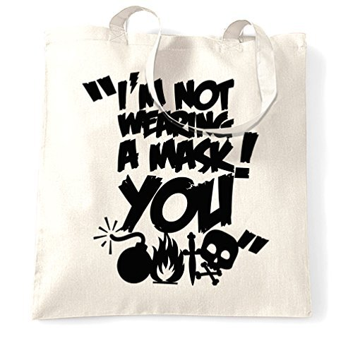 Canvas Tote Bag Im Not Wearing a Mask You Halloween Funny Party Costume Top Gift Adult Mean Rude Joke Dress Up Trick Or Treat Reusable Ecofriendly Shopping Bag Washable Tote Bags for Women