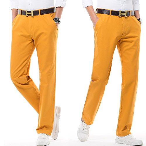 Hombre De Estilo Perneras Elástico Múltiples Colores Harrms Con Recto Corte Casual Elegir Para Liso Rectas Pantalones Amarillo qtgSUS