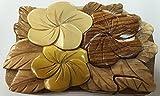 Wooden Puzzle Jewelry Box. Plumeria Design.