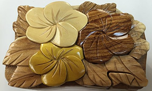 Wooden Puzzle Jewelry Box. Plumeria Design. by Tiki