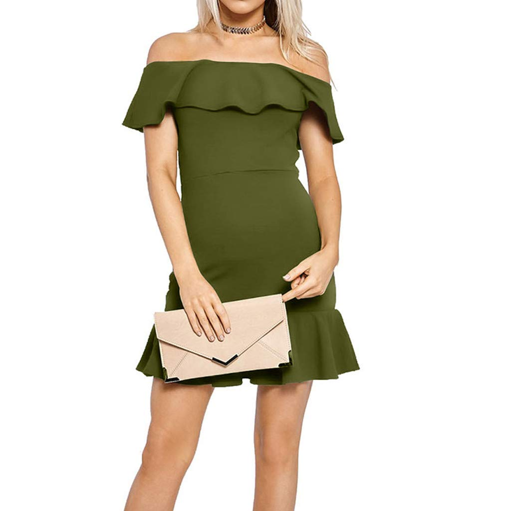 Forthery-Women Off Shoulder Ruffle High Low Cocktail Skater Swing Mini Dress(Green,US Size XS = Tag S)