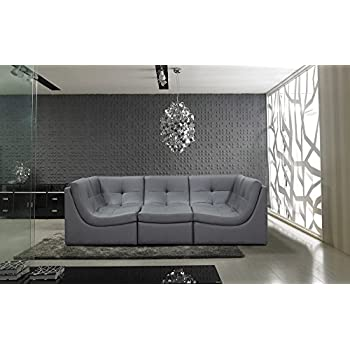 Amazon.com: Divani Casa 207 Modern Grey Leather Sectional Sofa by ...