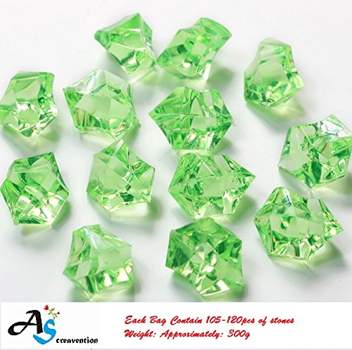 A&S Creavention Translucent Acrylic Ice Rocks Crystals Gems for Vase Fillers, Table Scatters, etc. 300g/Bag (Green) (Ice Crystal Pictures)