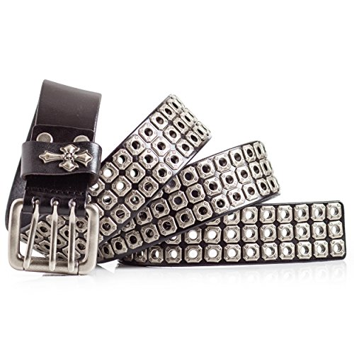Mens Leather Biker Belt with Studs (36)