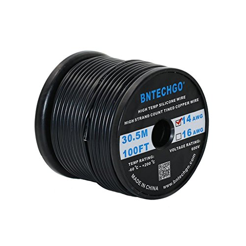 BNTECHGO 14 Gauge Silicone Wire Spool Black 100 feet Ultra Flexible High Temp 200 deg C 600V 14AWG Silicone Rubber Wire 400 Strands of Tinned Copper Wire Stranded Wire for Model Battery Low Impedance (14 Gauge Wire Diameter)