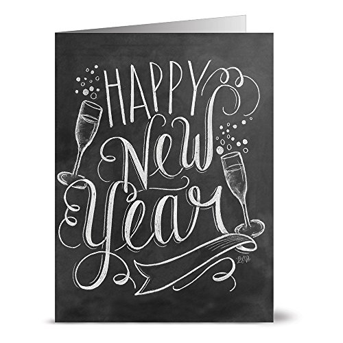 Bubbly Happy New Year   36 Chalkboard Note Cards   Blank Cards   Kraft Envelopes Included