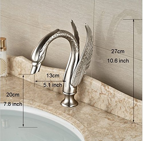 GOWE Luxury Bathroom Swan Style Basin Sink Faucet Widespread Bathroom Mixer Taps Brushed Nickel 3 Holes 4