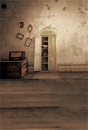 AOFOTO 6x8ft Artistic Background Photography Backdrops Wedding Old Shabby Wall Picture Frame Cupboard Wooden Floorss Child Adult Portrait Scene Nostalgic Studio Props Video Girl Photo ()