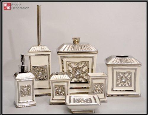 7 teiliges Keramik Bad Set Silber *Seifenspender *Abfalleimer ... | {Seifenspender antik 87}